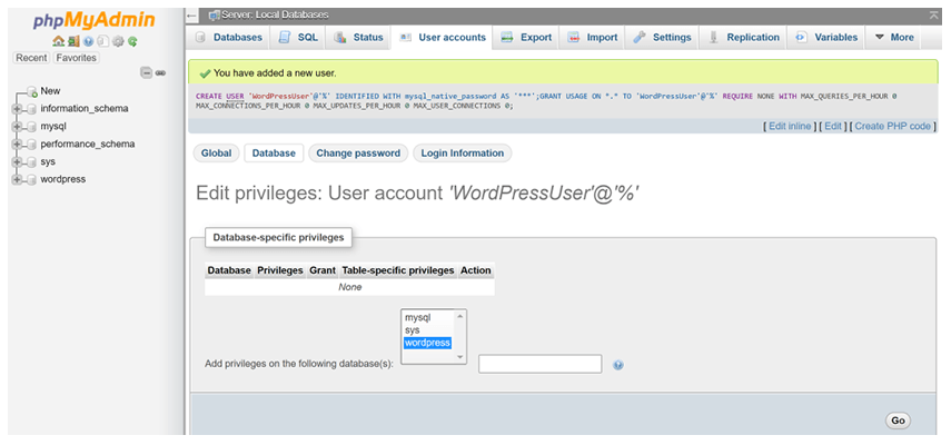 Select to edit user privileges via phpMyAdmin