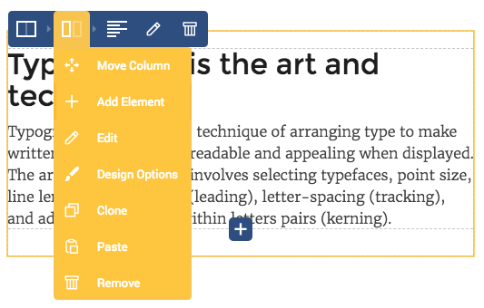 Element controls for column to edit your layout in WordPress