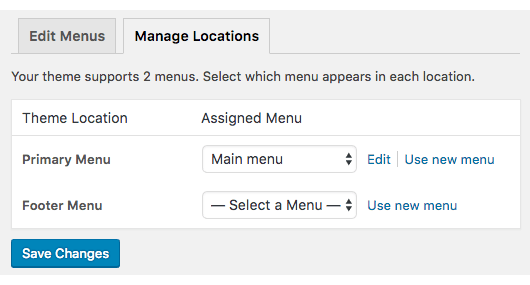 Manage location of a menu in WordPress website