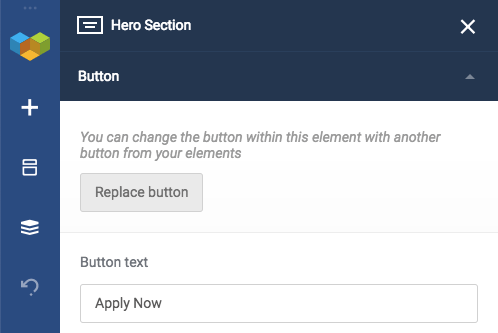 Replace button in your WordPress website layout elements of Visual Composer Website Builder