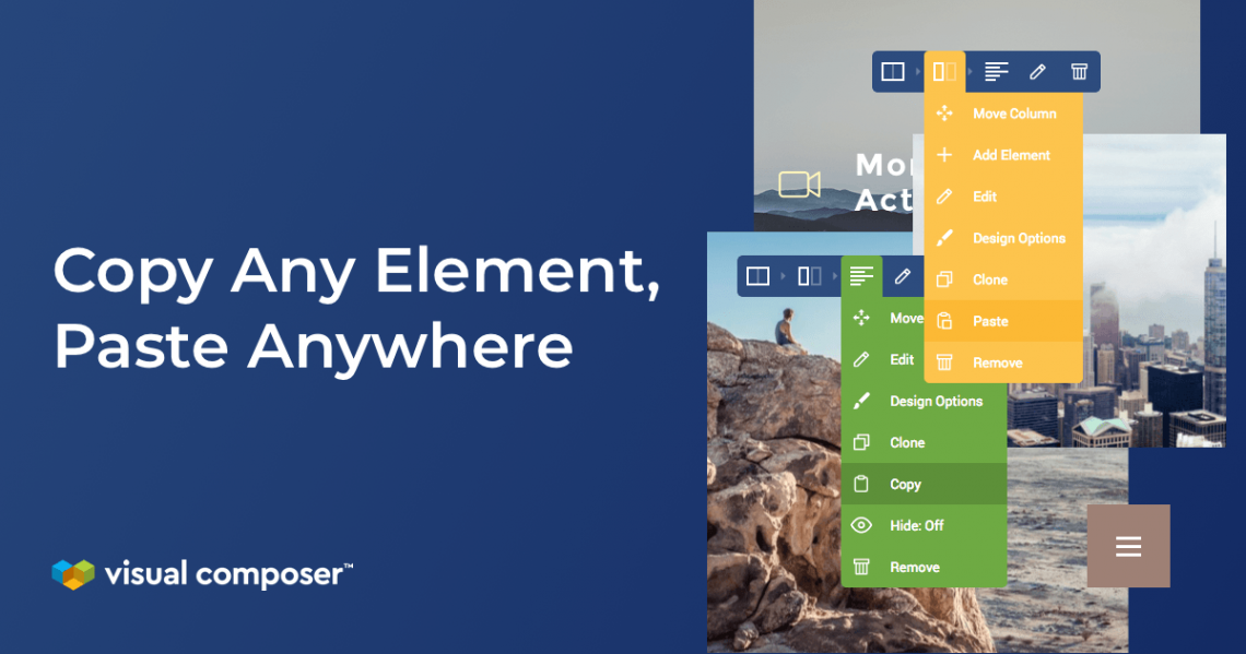 Copy paste elements across your WordPress site with Visual Composer Website Builder