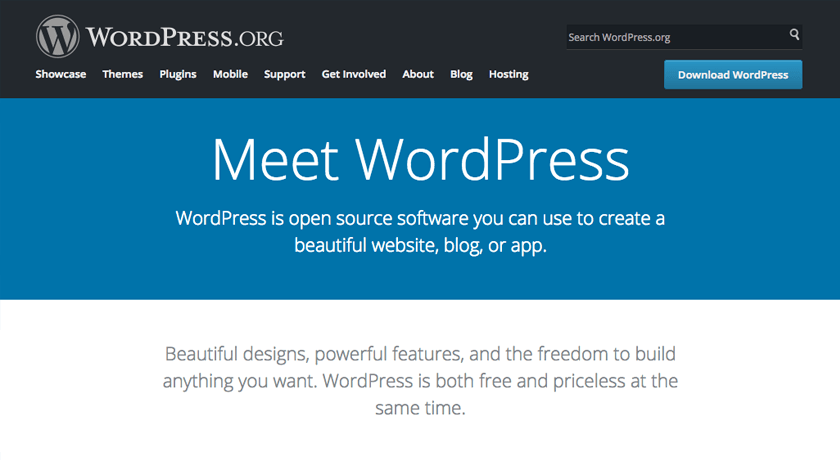 Download WordPress from wordpress.org website