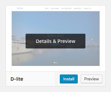 Click install button to install WordPress theme