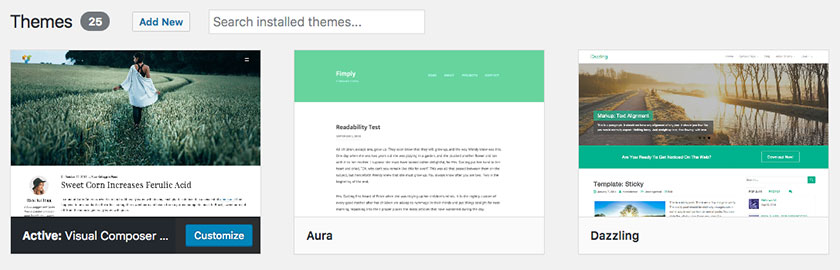 List of installed WordPress themes