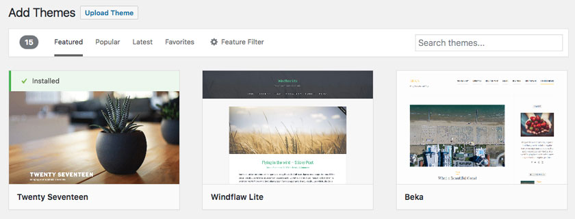 Search for WordPress Theme in WP Dashboard