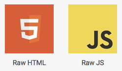 Raw HTML and Raw JS content elements for custom HTML and Javascript