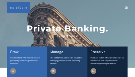 Finance page example with Visual Composer for WordPress