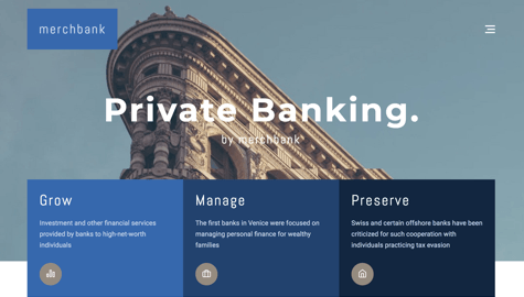 WordPress template for finance or banking