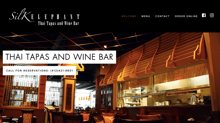 Silk Elephant restaurant website created with Visual Composer