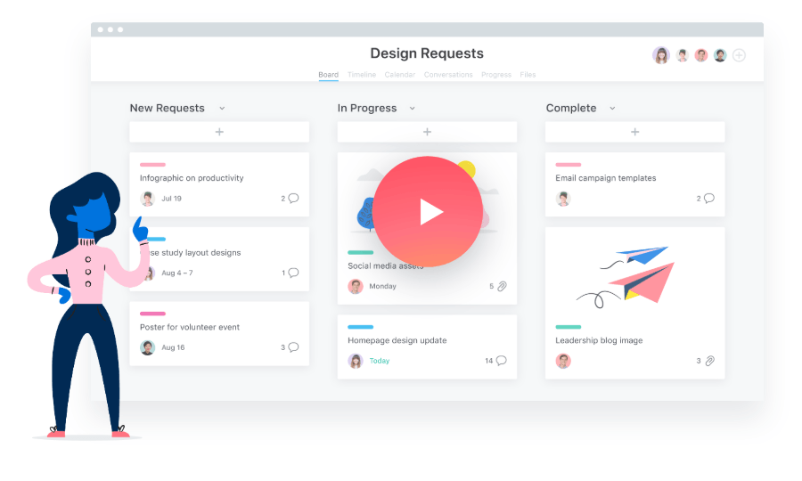 Shape and image combination example by Asana