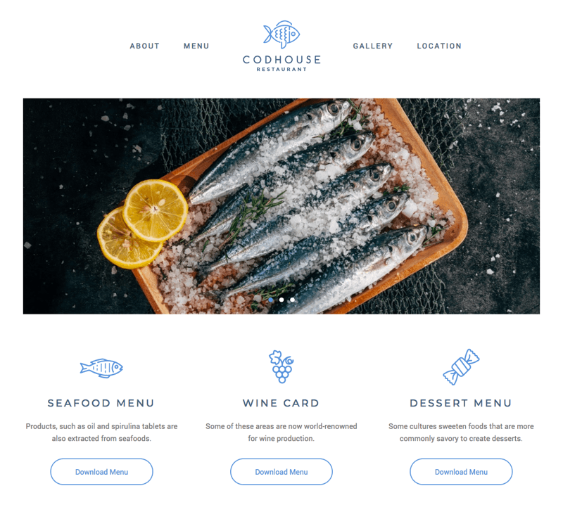 Seafood restaurant template tailored for speed and performance