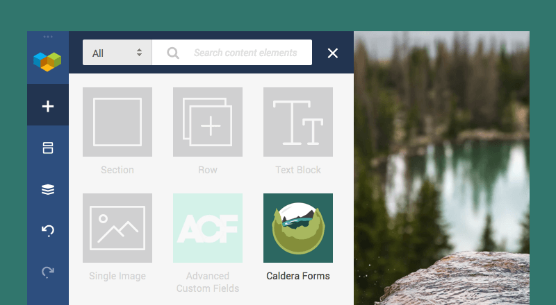 Add Caldera Forms element with Visual Composer