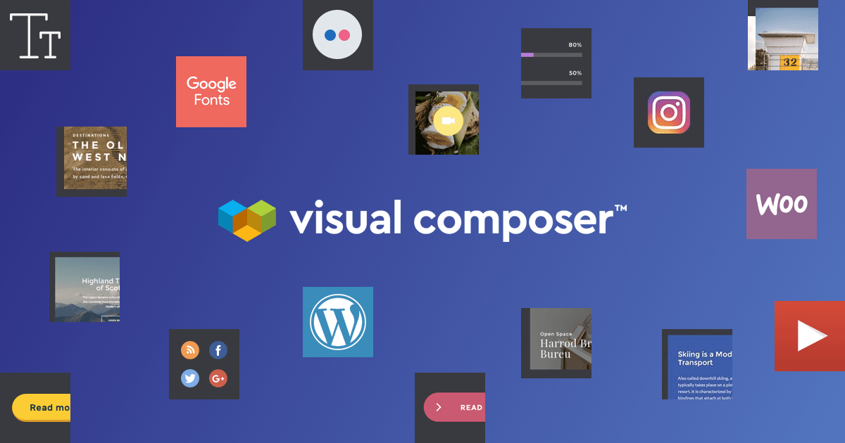 Visual Composer comes with rich content elements to build your WordPress site
