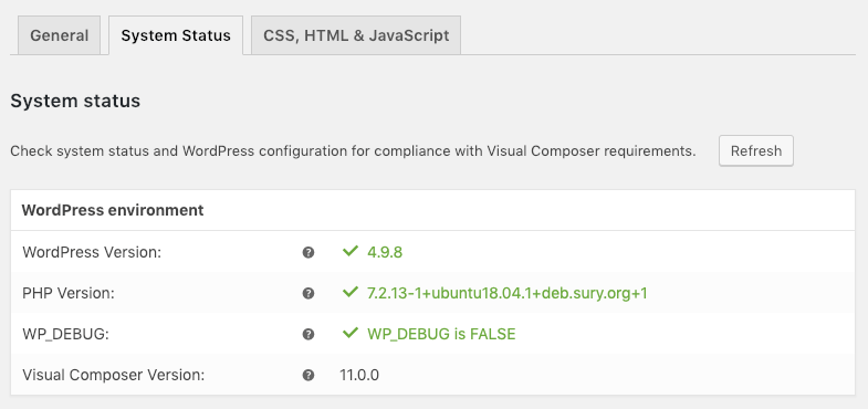 Visual Composer system status page
