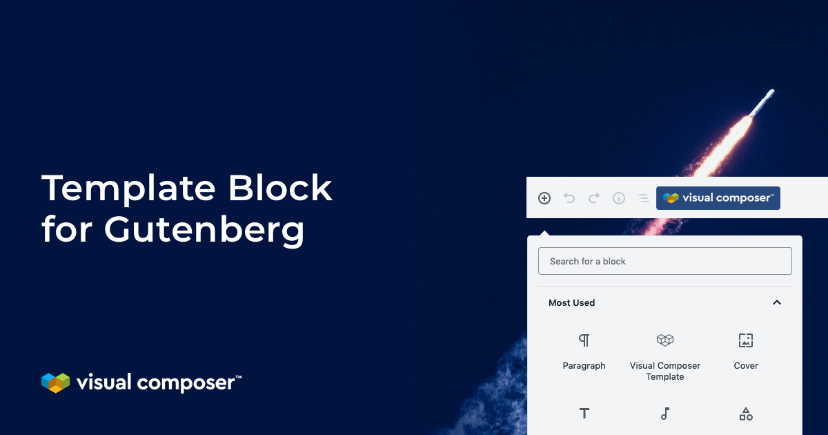 Visual Composer template block for Gutenberg editor