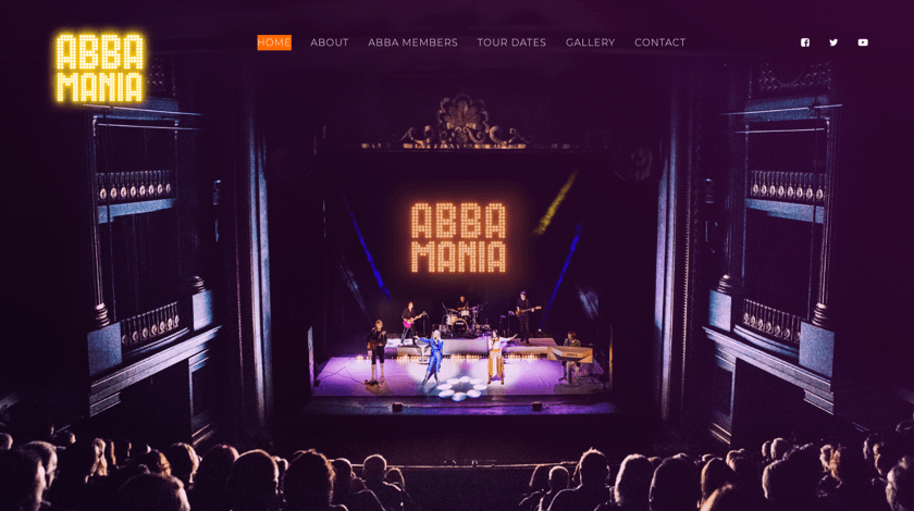 Abba Mania website example with Visual Composer