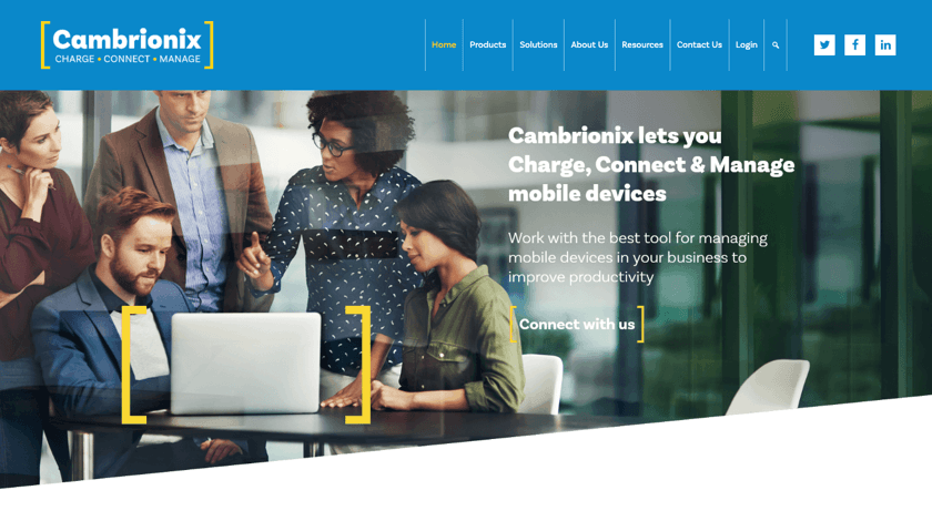 Cambrionix website example with Visual Composer