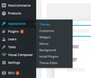 Install WordPress theme from Appearance - Themes