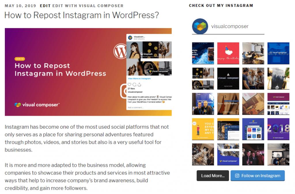 Instagram Feed Sidebar Widget