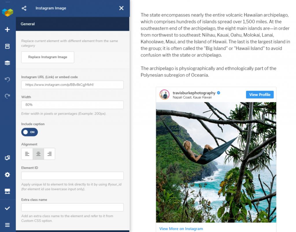 Visual Composer Instagram Elements inside for the blog post