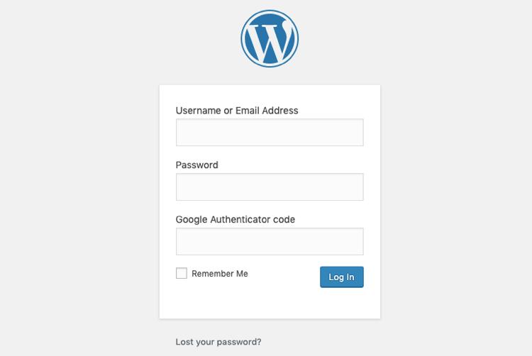 WordPress Login: User name and password