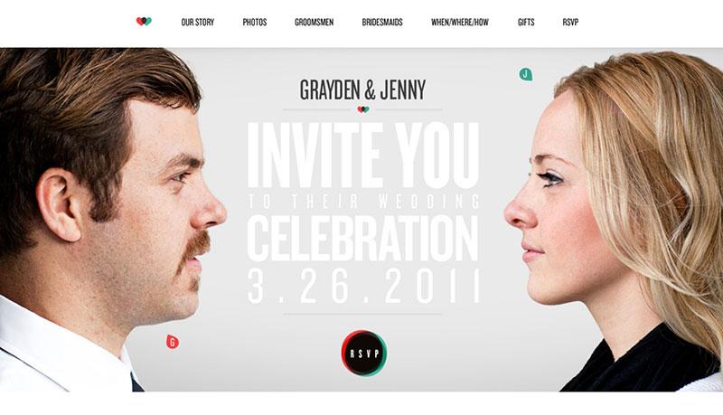 Jenny and Grayden wedding website example