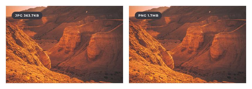 PNG vs JPG image file size