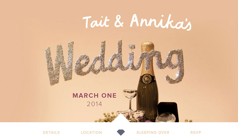 Tait & Annika wedding website example
