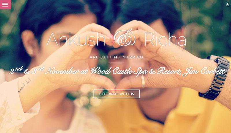 Ankush & Richa wedding website example