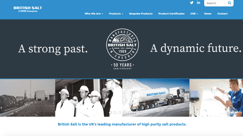British Salt website made with Visual Composer