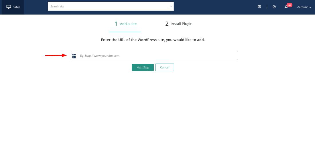 Add WordPress website to BlogVault