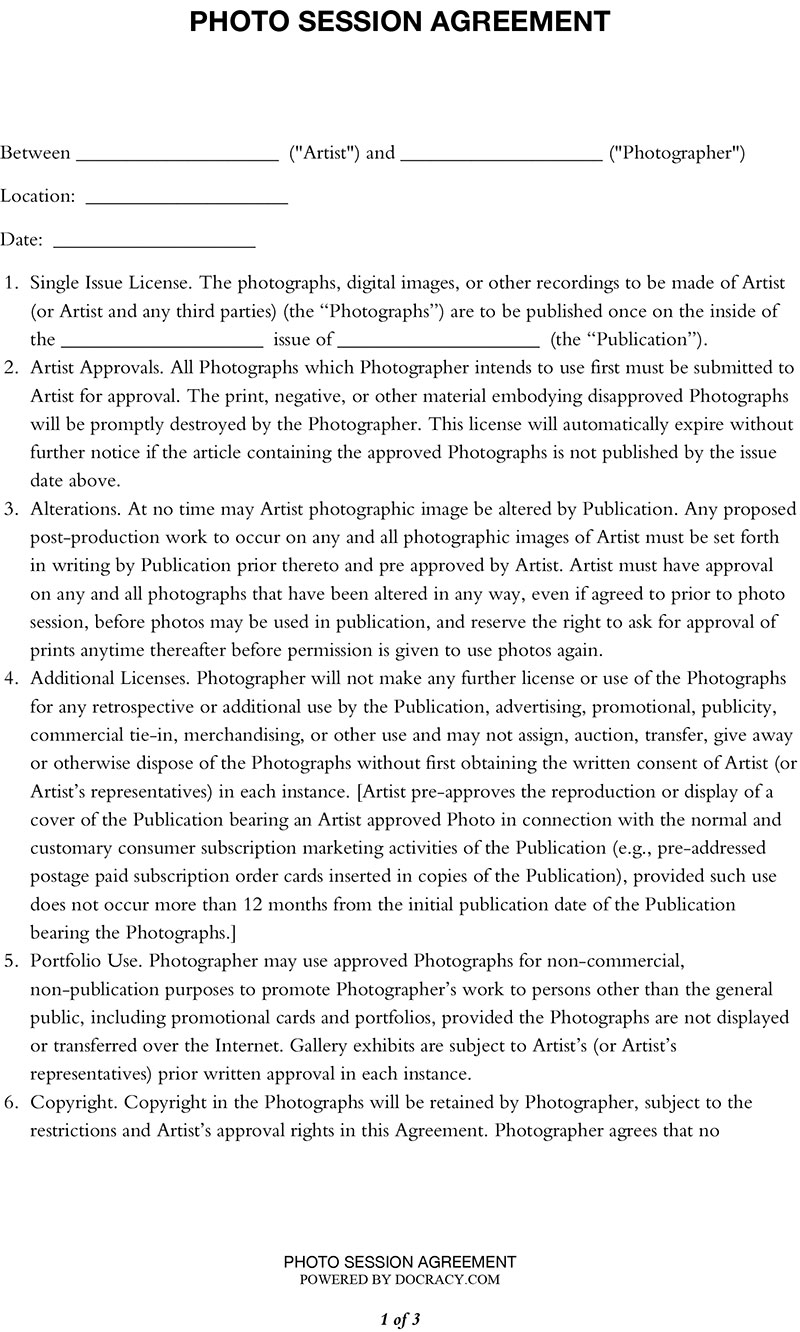 Photo Session Agreement - Photography Contract