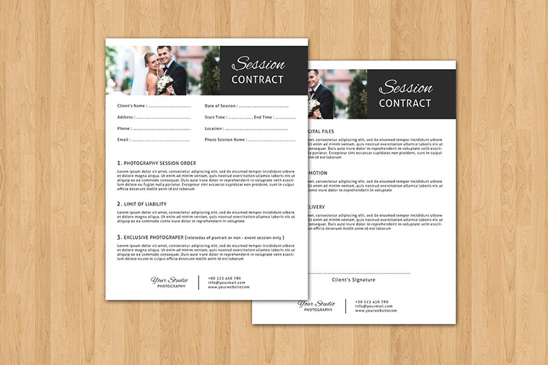 Standard Session Contract Form Template - Photography Contract