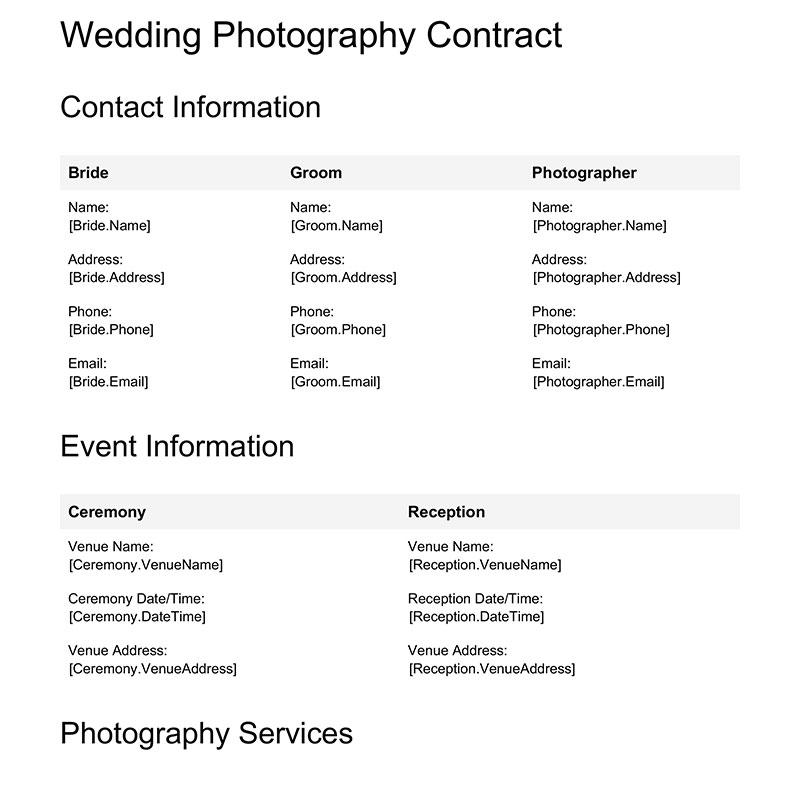 Wedding Photography Contract