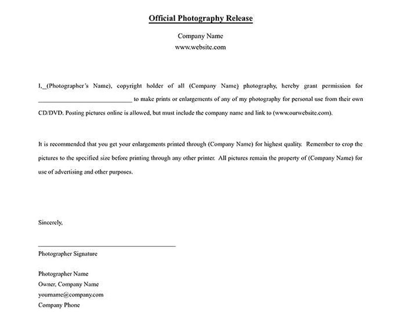 Photo Copyright Release Photography Contract