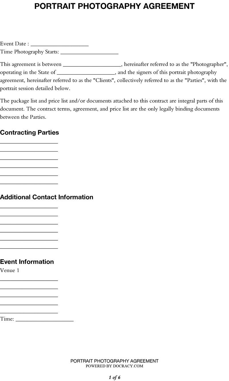 Agreement for Portrait Photography - Photography Contract