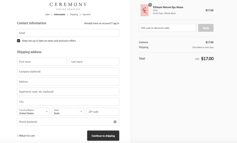 Ceremony order form