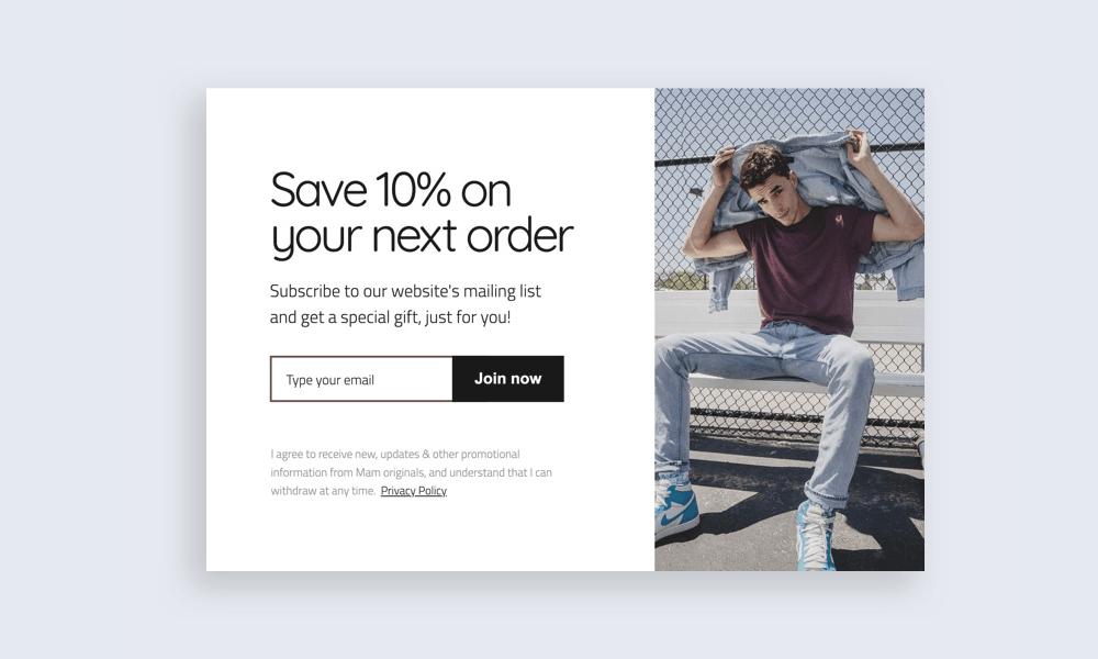 Popup save 10 percent