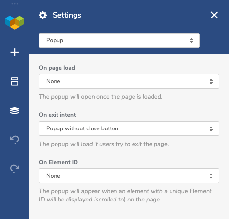 Visual Composer page-specific popup settings for WordPress