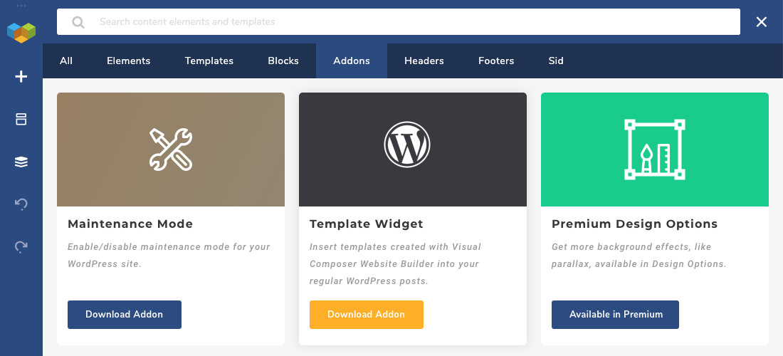 Visual Composer Hub Add-ons Section