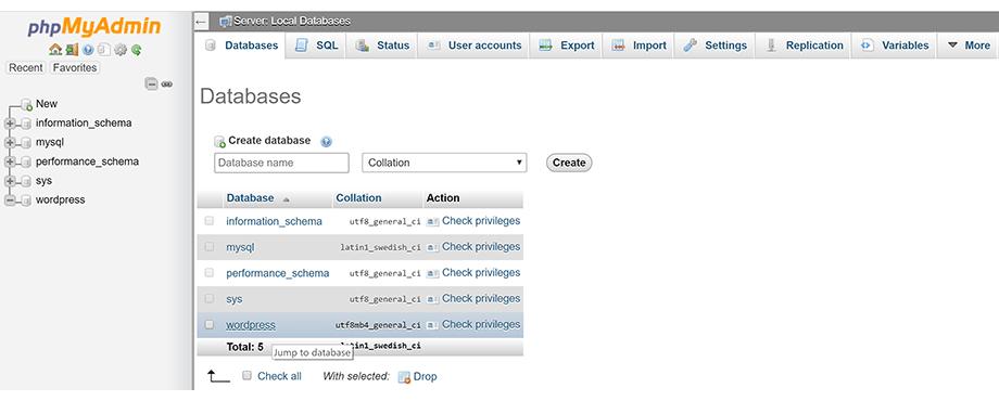 PhpMyAdmin Databases