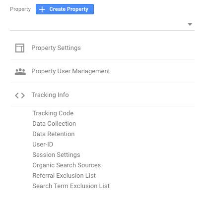 Locate your tracking code under Google Analytics Properties