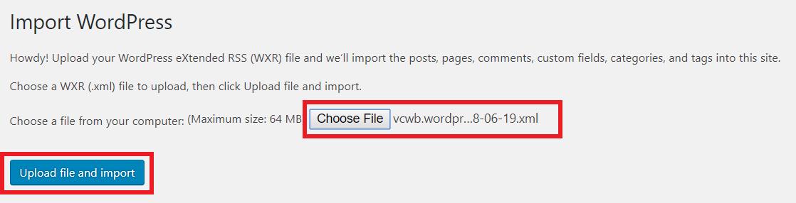 Upload File And Import Wordpress