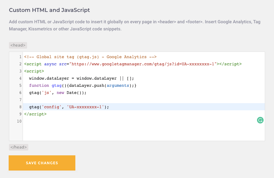 Google Analytics code in Visual Composer Custom JS