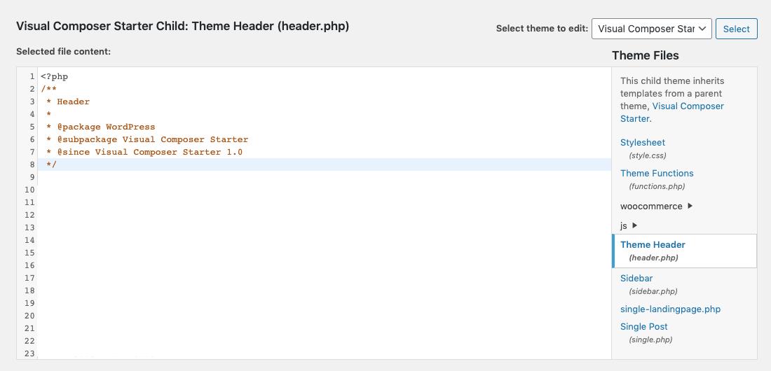 WordPress theme header.php in Theme Editor