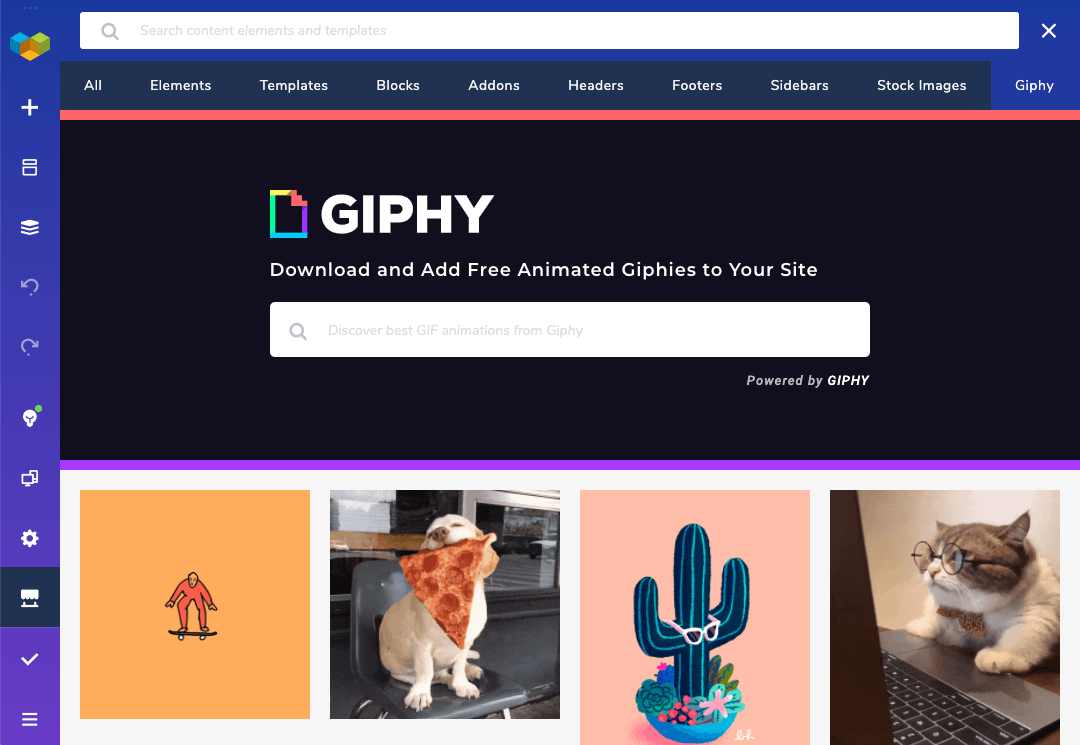 Giphy library in Visual Composer Hub