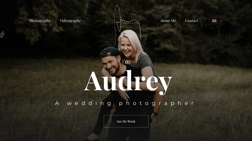 Audrey - wedding photographer website example