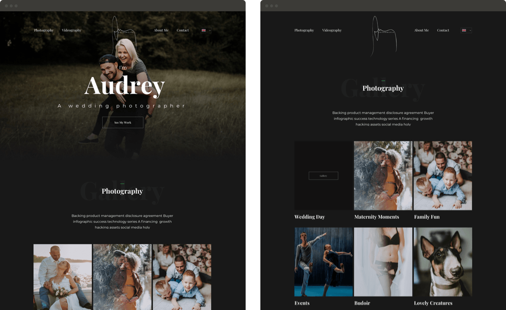 Wedding Photographer Website Design