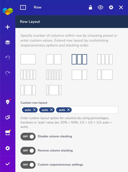 Row grid layout control in Visual Composer Website Builder with reverse stacking option