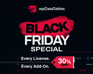 wpDataTables Black Friday discount